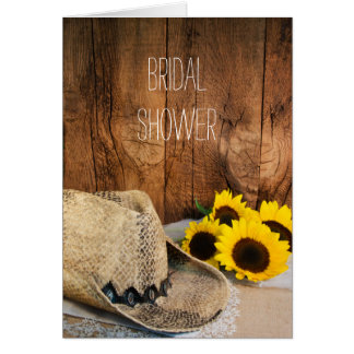Cowboy Hat Sunflowers and Barn Wood Bridal Shower Card