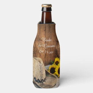 Cowboy Hat, Sunflowers, Barn Wood Country Wedding Bottle Cooler