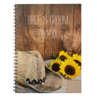 Cowboy Hat, Sunflowers, Barn Wood Country Wedding Spiral Notebook