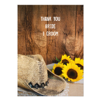 Cowboy Hat Sunflowers Barn Wood Wedding Thank You Announcement