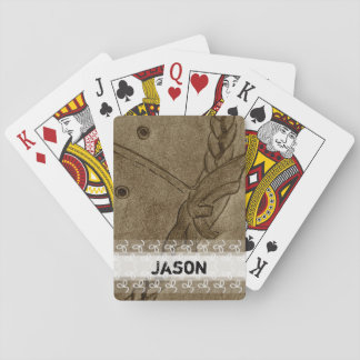 Cowboy hat up close drawing playing cards
