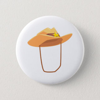 Cowboy Hat With Attaching String Drawing Isolated 2 Inch Round Button