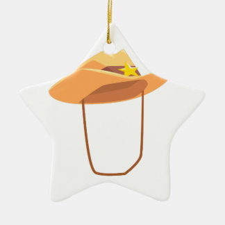 Cowboy Hat With Attaching String Drawing Isolated Ceramic Ornament
