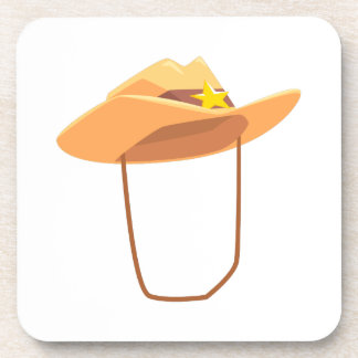 Cowboy Hat With Attaching String Drawing Isolated Coaster