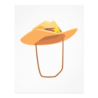 Cowboy Hat With Attaching String Drawing Isolated Letterhead