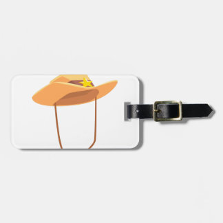 Cowboy Hat With Attaching String Drawing Isolated Luggage Tag