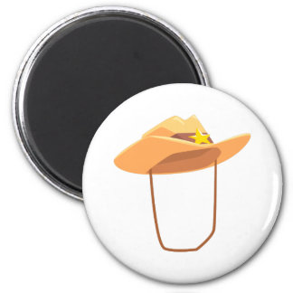 Cowboy Hat With Attaching String Drawing Isolated Magnet
