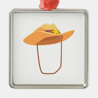 Cowboy Hat With Attaching String Drawing Isolated Metal Ornament