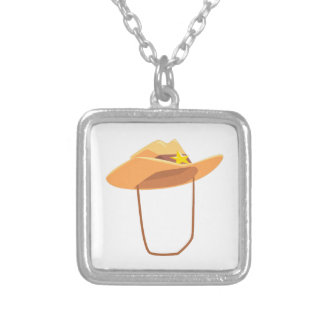 Cowboy Hat With Attaching String Drawing Isolated Silver Plated Necklace
