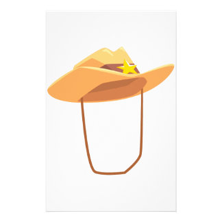 Cowboy Hat With Attaching String Drawing Isolated Stationery