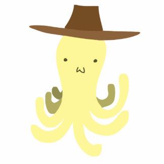 Cowboy Hat Yellow Octopus Standing Photo Sculpture
