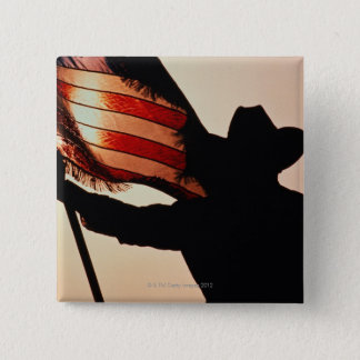 Cowboy holding Stars and Stripes, silhouette, 2 Inch Square Button