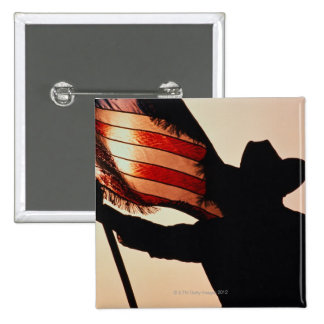 Cowboy holding Stars and Stripes, silhouette, Pins