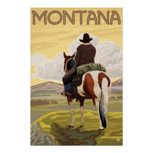 Cowboy & Horse - Montana Poster