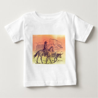 Cowboy Horse Steer Cattle Cow Western Sunset Art Baby T-Shirt