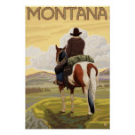 Cowboy & HorseMontanaVintage Travel Poster