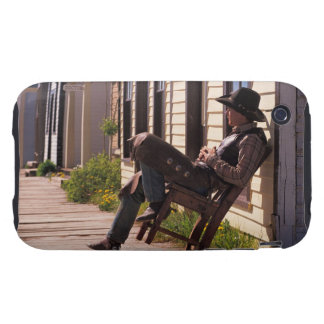 Cowboy in chair on boardwalk in South Park City, iPhone 3 Tough Cases