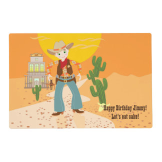 Cowboy kid birthday party laminated placemat