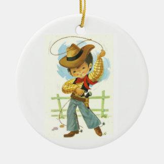 Cowboy Kid Ceramic Ornament