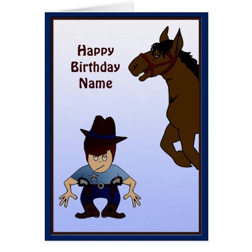 Cowboy Kid Custom Birthday Card