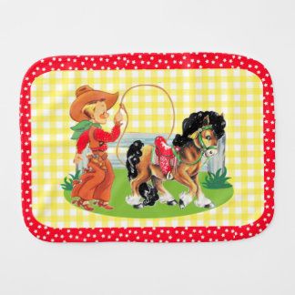 Cowboy Kid With Horse Rope  And Fence Burp Cloth