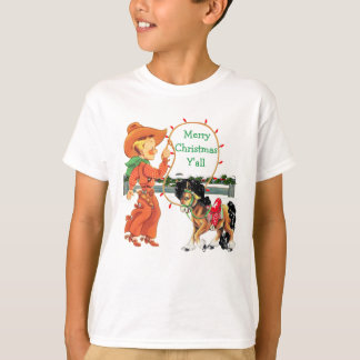Cowboy Kid with Rope  And Horse Holiday T-Shirt