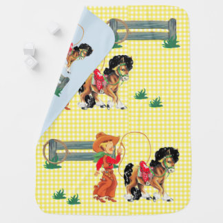 Cowboy  Kid With Rope  Fence And Horse Stroller Blanket