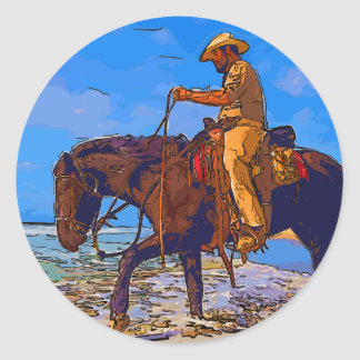 Cowboy Mounted Classic Round Sticker