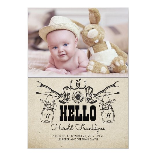 Cowboy Newborn Baby Photo Birth Announcement
