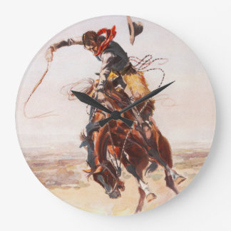 Cowboy on Bucking Bronco Wall Clock
