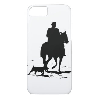 Cowboy On His Horse With His Dog iPhone Case