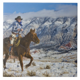 Cowboy on Horse wearing Leather Chaps 2 Tile