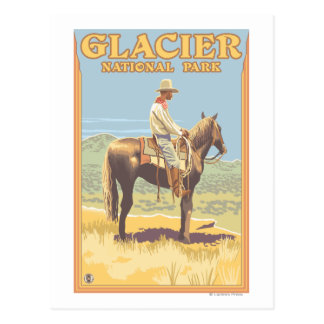 Cowboy on Horseback - Glacier National Park, Postcard
