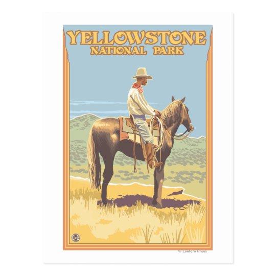 Cowboy on Horseback - Yellowstone National Postcard