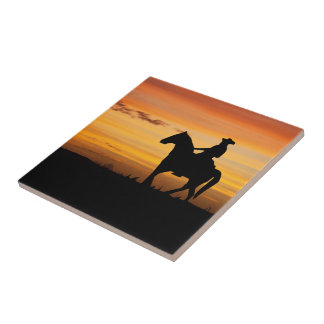Cowboy Or Cowgirl Riding Horse In Sunset Tile