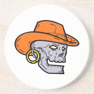 Cowboy Pirate Skull Mono Line Art Coaster