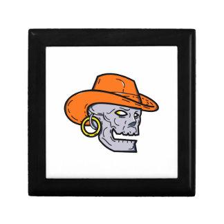 Cowboy Pirate Skull Mono Line Art Gift Box