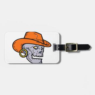 Cowboy Pirate Skull Mono Line Art Luggage Tag
