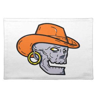 Cowboy Pirate Skull Mono Line Art Placemat