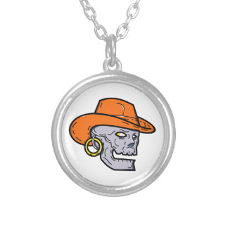 Cowboy Pirate Skull Mono Line Art Silver Plated Necklace