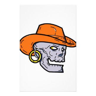 Cowboy Pirate Skull Mono Line Art Stationery