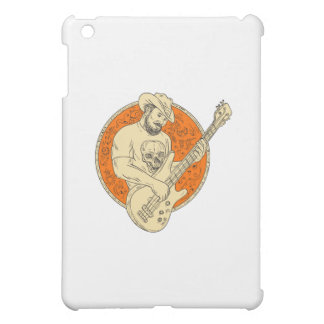 Cowboy Playing Bass Guitar Circle Drawing iPad Mini Covers