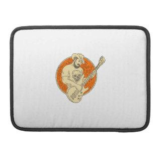 Cowboy Playing Bass Guitar Circle Drawing Sleeve For MacBook Pro