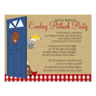 "Cowboy Potluck Party 4.25"" X 5.5"" Invitation Card"