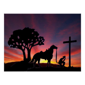 Cowboy Praying at the Cross Christian Western Art Poster