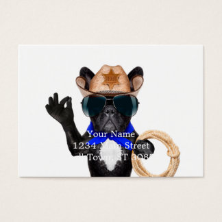 cowboy pug - dog cowboy business card