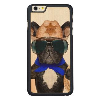 cowboy pug - dog cowboy carved maple iPhone 6 plus case