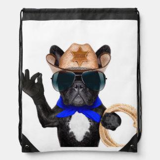 cowboy pug - dog cowboy drawstring bag