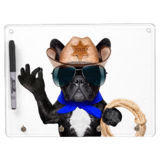 cowboy pug - dog cowboy dry erase board with keychain holder