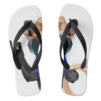 cowboy pug - dog cowboy flip flops